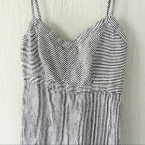 sweetheart pin striped maxi dress blue white linen